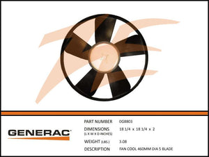 Generac 0G8803 Cooling Fan 460MM Diamater 5 Blade