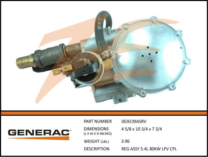 Generac 0G9239ASRV Fuel Regulator Assembly 5.4L 80kW LP