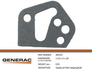 Generac 0E9370 Gasket,Oil Filter ADAPTR,GT530