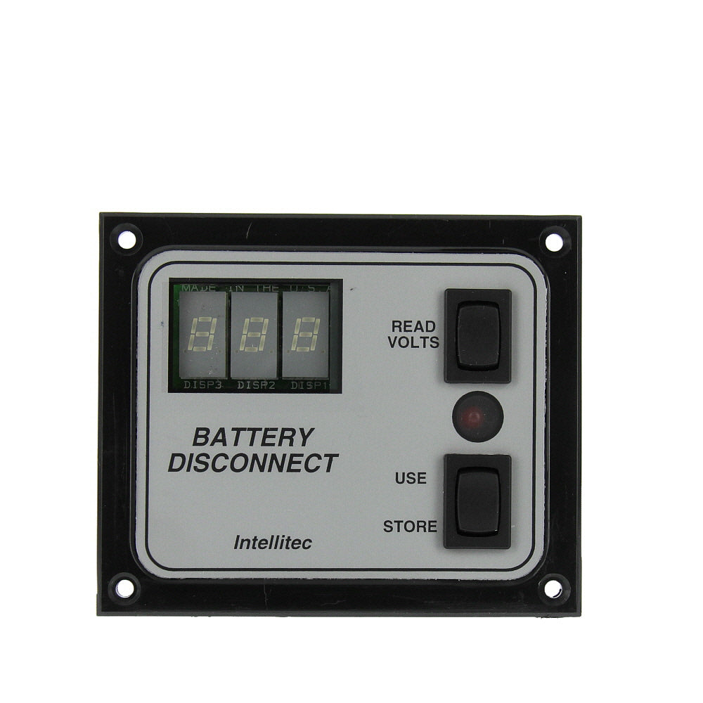 Intellitec 01-00066-005 OEM RV Single Battery Disconnect Panel Switch - With Voltmeter Display, Black Bezel/Silver Inlay - AnyRvParts.com