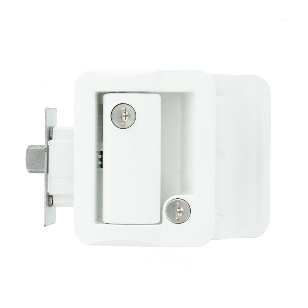 Jammy TDL-01-W OEM RV Entry Door Lock Handle Knob Kit - Includes Deadbolt and Keys, Industrial Grade - White - AnyRvParts.com