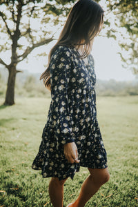 Navy and Cream Floral Dress