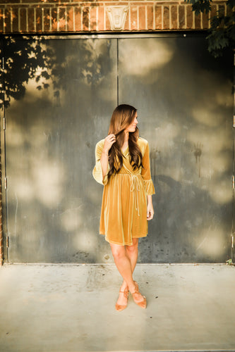 Mustard Velvet Faux Wrap dress