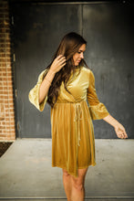 Load image into Gallery viewer, Mustard Velvet Faux Wrap dress