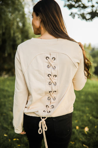 Cream Sweatshirt with Lace up Detail