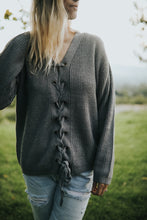 Load image into Gallery viewer, GRAY LACE UP SWEATER