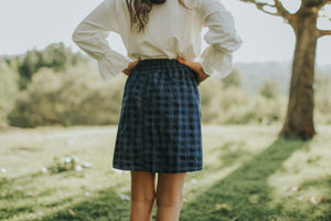 Plaid denim ruffle skirt