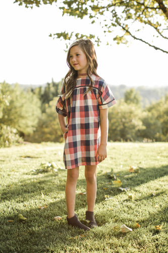 Plaid Navy and Pink Dress