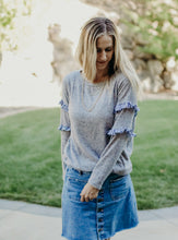 Load image into Gallery viewer, Ruffle Sleeve Grey Sweatshirt