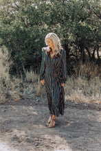 Load image into Gallery viewer, Hunter Green Striped Faux Wrap Dress