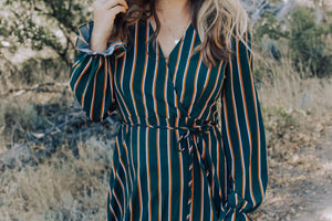 Hunter Green Striped Faux Wrap Dress