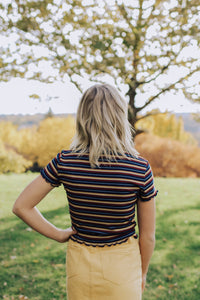 Ribbed Striped Crop Top