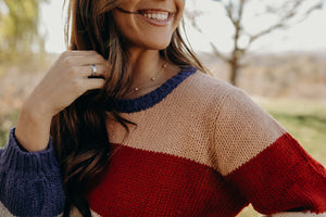 Color Block Bubble Sleeve Sweater