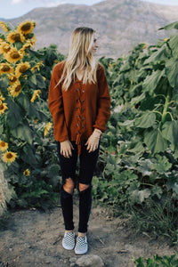 Camel Lace Up Sweater