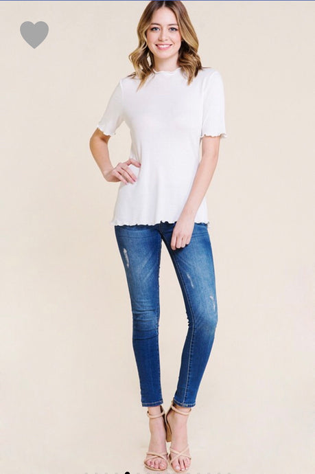 Mock neck basic white tee