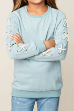 Load image into Gallery viewer, Blue Criss-Cross Sleeve Sweatshirt