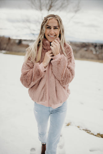 Mauve Faux Fur Jacket