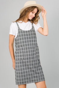 Checked Plaid Overall Dress