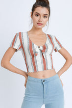 Load image into Gallery viewer, Rust Stripe Cropped Shirt