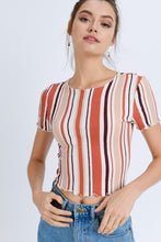 Load image into Gallery viewer, Multi-Stripe Crop Tee