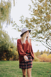 Knit Pullover Sweater in Mahogany