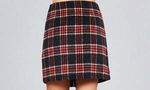 Zipper Plaid Skirt in Black