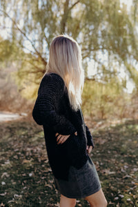 Black Hi-Low Cardigan