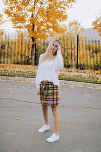 Zipper Plaid Skirt in Yellow
