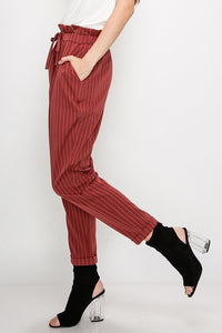 Paper Bag Style Stripe Pants