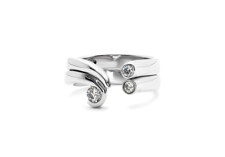 duo rings diamonds white gold the double cradle