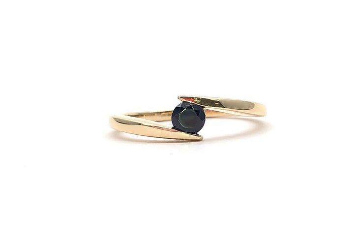 black spinel yellow gold engagement ring hello you