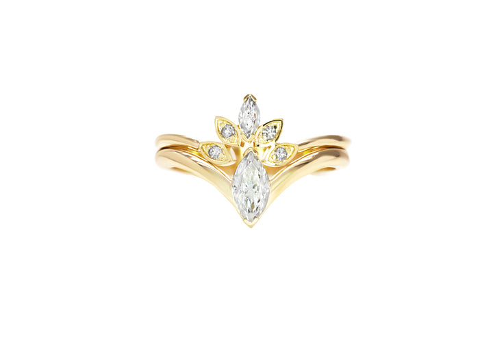 duo rings marquises diamonds yellow gold I desire you