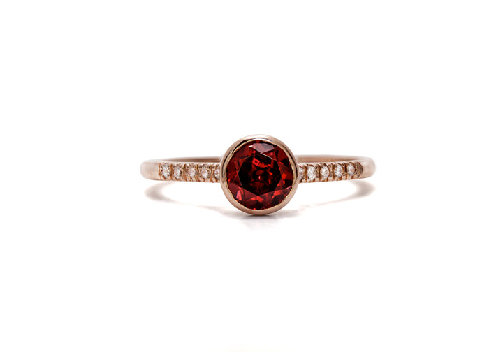 bague or rose grenat diamant de laboratoire douce folie