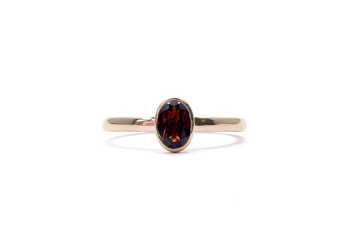 ring natural garnet yellow gold wait for me