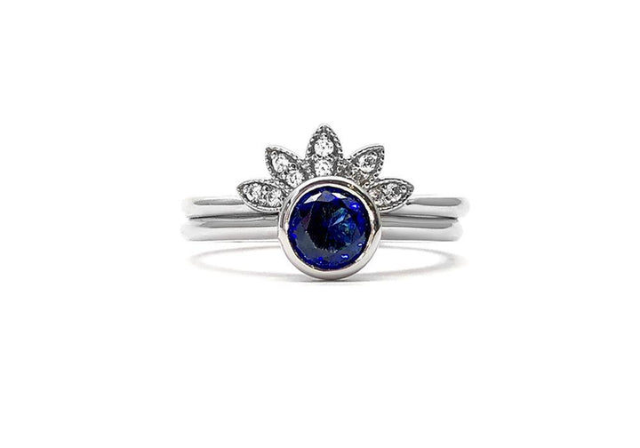 duos sapphire rings and laboratory diamonds white gold just for your eyes
