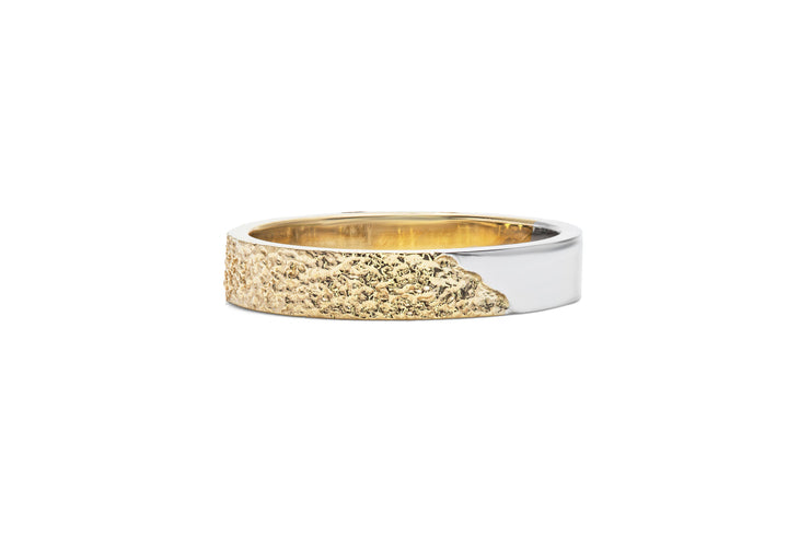 yellow and white gold man ring between heaven and earth