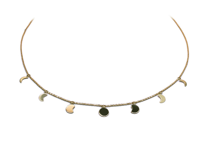 necklace moon phase yellow gold moonlight gold