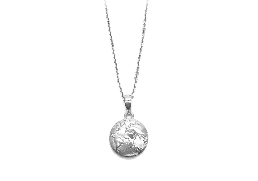 Pendant planet earth in white gold 22 April