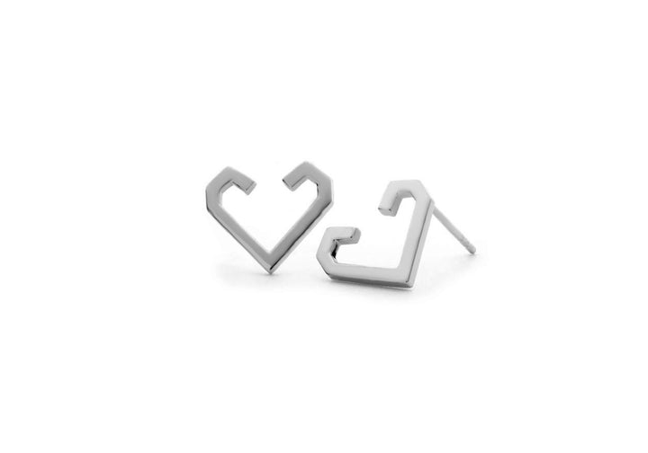 white gold heart earrings The friendship heart-hook earrings