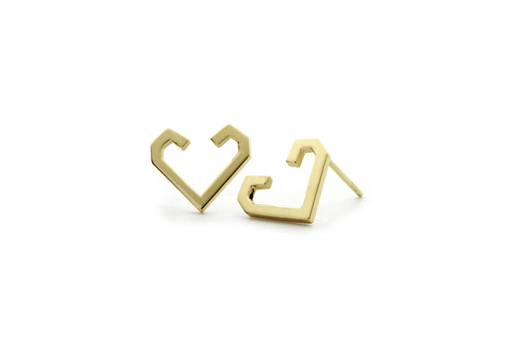 yellow gold heart earrings The friendship heart-hook earrings