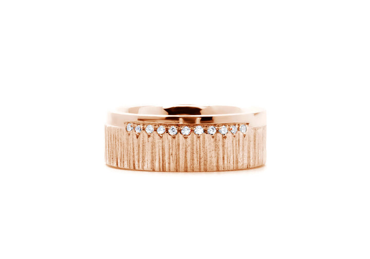 men's ring diamonds rose gold L'aventurier du large ruisseau pavé