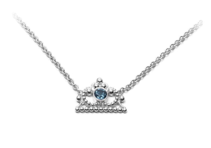 crown necklace necklace pendant white gold sterling silver jewelry woman topaz