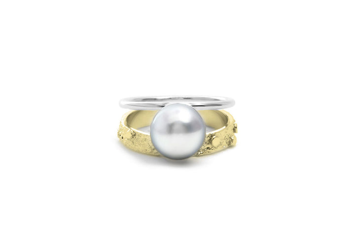 bague perle or jaune Double signature perle blanche or 10K