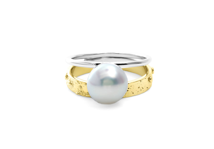 bague perle or jaune double signature perle blanche