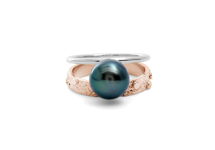 black pearl ring rose gold Double signature black pearl ring