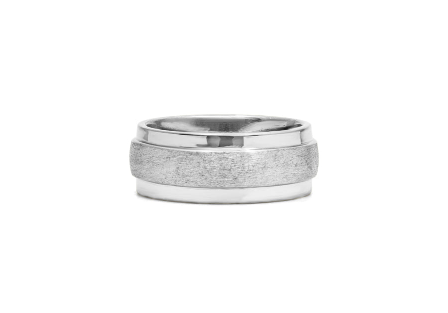 classic wedding ring for men in white gold with large muscles
