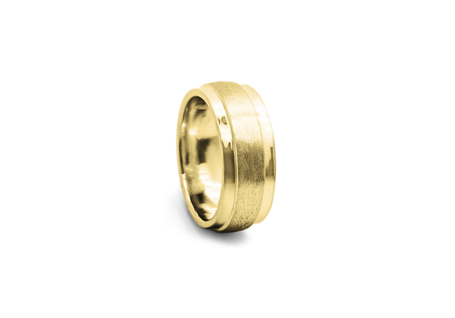classic wedding ring yellow gold man large muscular profile