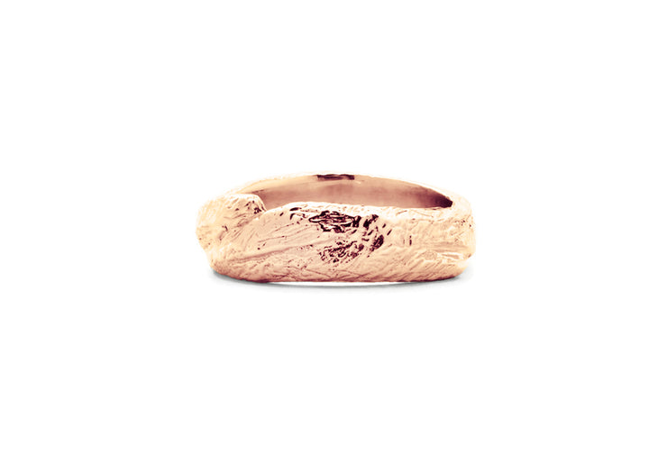 Wedding band man rose gold adventurer of the woods