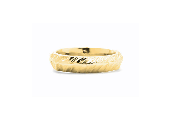 wedding band for man yellow gold mountain adventurer