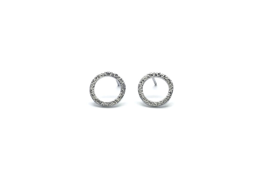 earrings round minimalist textured sterling silver